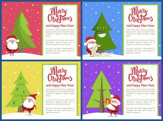 Merry Christmas and Santa Set Vector Illustration
