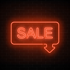 Neon sale sign in frame with arrow in red color. Inviting banner with discount.