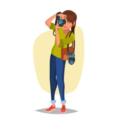Female Photographer Vector. Studio Photo. Taking Professional Pictures. Flat Cartoon Illustration