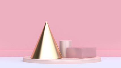 gold cone set soft pink background 3d rendering