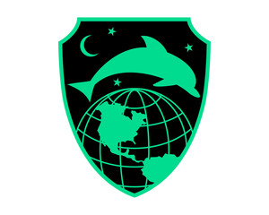 black dolphin universe globe earth fish nautical marine life image animal icon