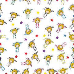 Seamless Pattern Cartoon vector hand drawn Doodles Girl character design Mascot Cow