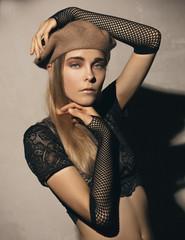 Blonde Girl in a Basque beret