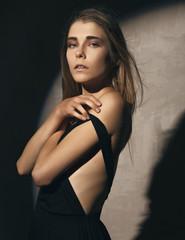 Sensual woman in black dress