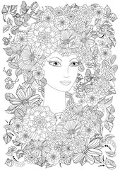 Fototapete - beautiful young woman in flowers for your coloring book