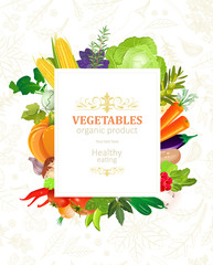 colorful banner with frame of vegetables for your design