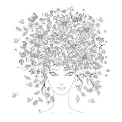 Fototapete - Girl with flowers on her head for coloring book