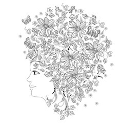 Wall Mural - portrait of fashion girl with flowers on her head for coloring b