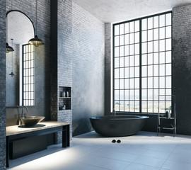 Contemporary loft bathroom with empty copyspace