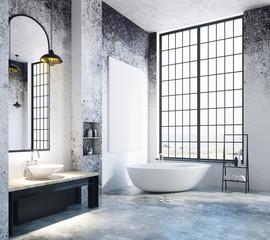 Modern loft bathroom with blank poster