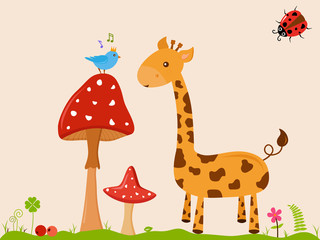 Vector illustration of cute smiling Giraffe cartoon next to blue prince bird on tall red mushroom with white dot on green grass