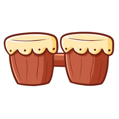Funny and cute bongo drum in simple cartoon style - vector.