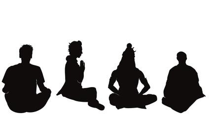 瞑想する男のシルエット