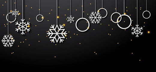 Christmas elements hanging isolated background. New Year and Happy Christmas background.