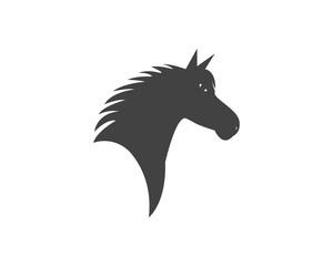 Horse head silhouette logo design template