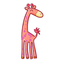 Funny and cute pink giraffe standing and smiling happily - vector.