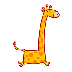 Cute and funny abstract giraffe running and smiling happily - vector.