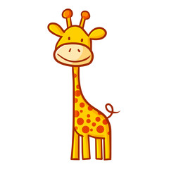 Cute and funny abstract giraffe standing and smiling happily - vector.