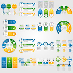 Modern vector illustration 3d. Template infographics set with three elements, sectors and percentages. Contains icons and text. Designed for business, presentations, web design, diagrams with 3 steps