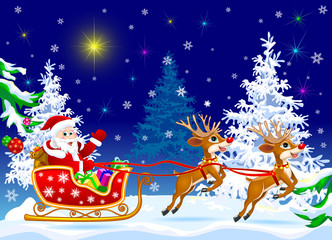 Santa on sleigh with deer.Santa Claus and deer in the winter forest on the eve of Christmas