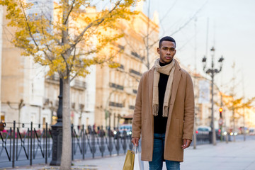 Fashionable black man on street