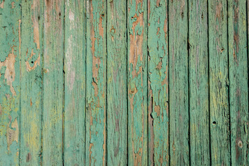 Aged board of wood with weathered paint blistering off giving brown wooden texture background