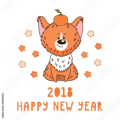 Hand drawn new year greeting card with cute funny cartoon dog with a hand drawn new year greeting card with cute funny cartoon dog with a tangerine typography m4hsunfo