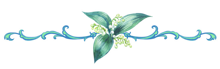 Watercolor vignette with a lily of the valley and a baroque pattern, hand drawing.
