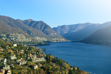 Panoramic view of Lake Lugano in Switzerland in a sunny day