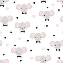 Children seamless pattern with mouse