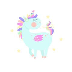 Funny cartoon unicorn