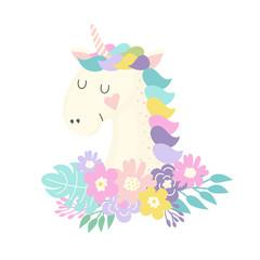 Unicorn and flowers illustration