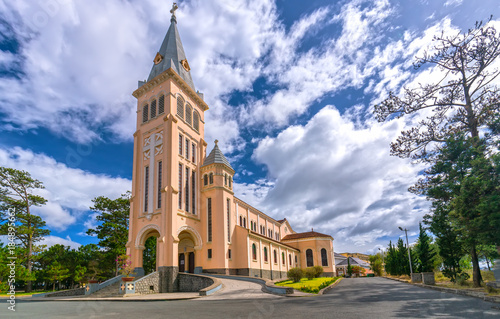 famous ancient architecture. Da Lat, Viet Nam - November 27th, 2017: Cathedral Chicken. This Is Famous Ancient Architecture