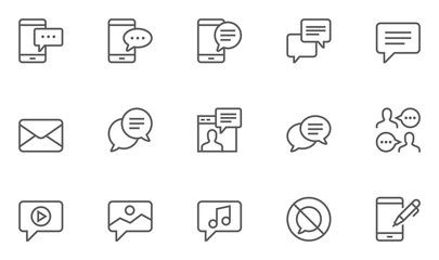 Set of Message Vector Line Icons. 48x48 Pixel Perfect.