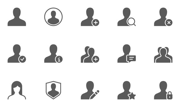 Users and Avatars Vector Icons. Teamwork and Businessman symbols.