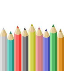vector image of different colored crayons