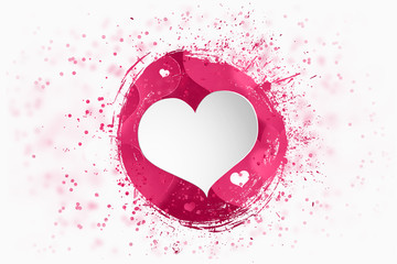 Happy Valentine's Day festive web banner, Valentine's Day. Composition with pink brains brush, paint, and hearts on a light background.