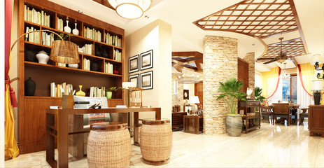 3d render of workplace, store.