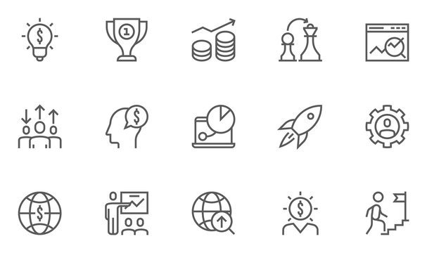 Set of Business Strategy Related Vector Line Icons.