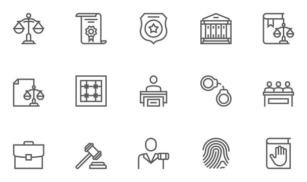 Simple Set of Law and Justice Related Vector Line Icons. Contains such Icons as Themis, Court, Police and more.Editable Stroke. 48x48 Pixel Perfect.