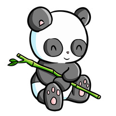 Funny and cute panda sit down and holding little bamboo - vector.