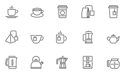 Coffee and Tea Vector Line Icons Set.
