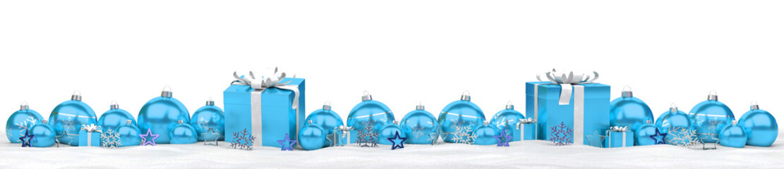 Blue and white christmas gifts and baubles 3D rendering