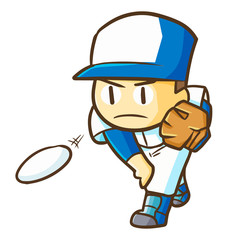 Funny and cute serious baseball player throwing the ball - vector.