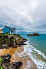 View from the esplanade of south bay at Tenby, Wales.