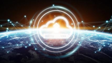 Digital cloud over planet Earth 3D rendering