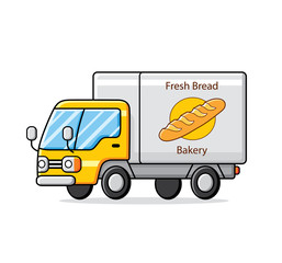 Bakery truck isolated. Fresh bread delivery.