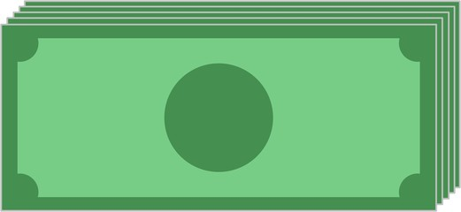 vector illustration of a bundle of banknoten without label