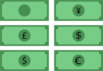 vector illustration of a banknote in yen,pound, dollar and euro