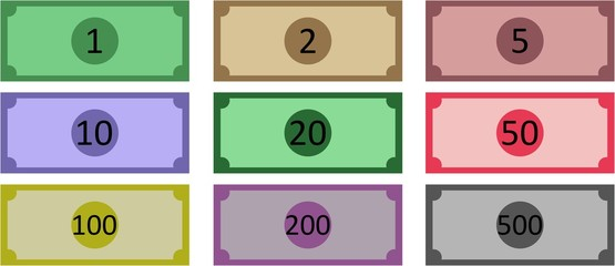 vector illustration of a 9 banknotes with value 1, 2, 5, 10, 20, 50, 100, 200 and 500
